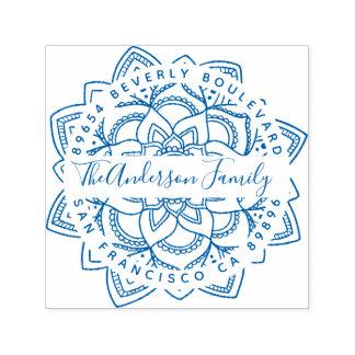 Blue Lotus Mandala Family Name Return Address Self-inking Stamp