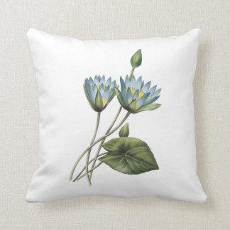 blue lotus(Nymphaea caerulea) by Redouté Throw Pillow