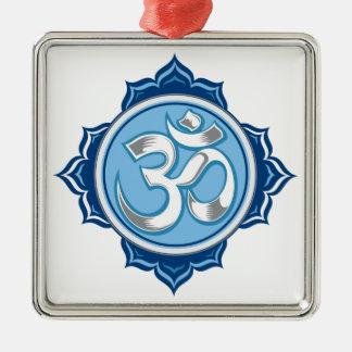 Blue Lotus Om Metal Ornament