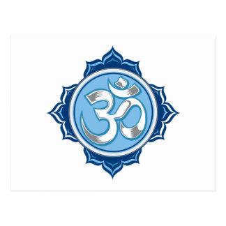 Blue Lotus Om Postcard