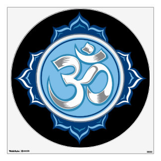 Blue Lotus Om Wall Decal