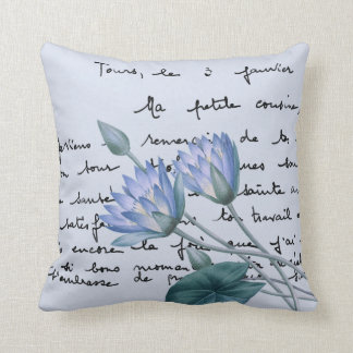 Blue Lotus Redouté Illustration w/Vintage Overlay Throw Pillow