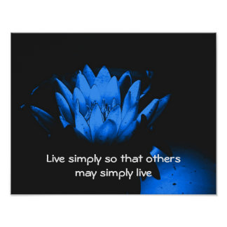 Blue Lotus Simplicity Inspirational Quote Poster