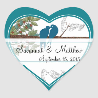Blue Love Birds Sitting in a Tree Wedding Sticker
