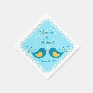 Blue Love Birds Wedding Disposable Napkin