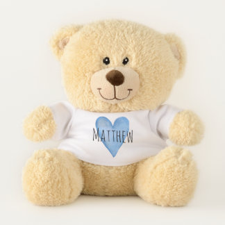 Blue Love Heart Typography with Baby Boy's Name Teddy Bear