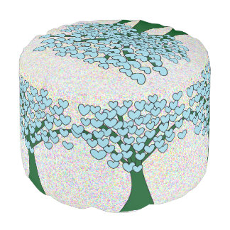 Blue Love Hearts Trees Pattern Cute Pouf