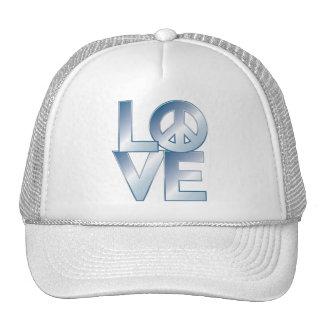 Blue LOVE=Peace Mesh Hats
