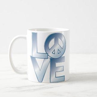 Blue LOVE=Peace Mug