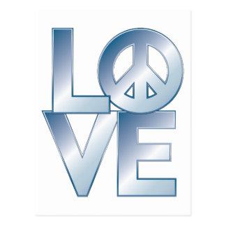 Blue LOVE=Peace Postcard