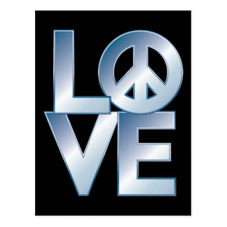 Blue LOVE=Peace Post Cards