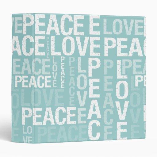 Blue Love Peace Typography Vinyl Binders