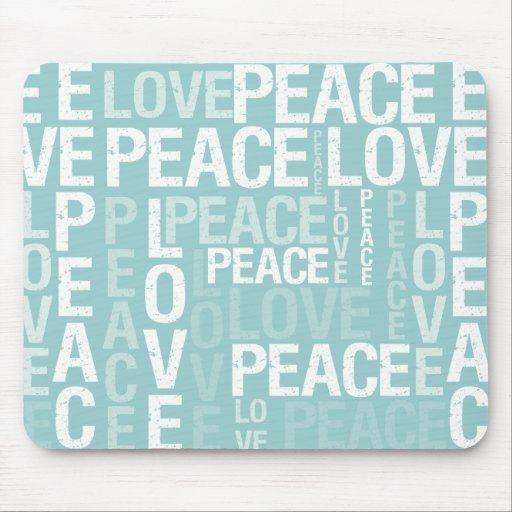 Blue Love Peace Typography Mousepad