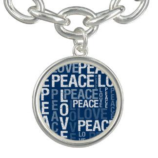 Blue Love Peace Typography Bracelets
