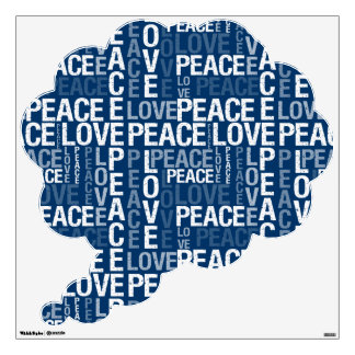 Blue Love Peace Typography Wall Sticker