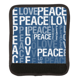 Blue Love Peace Typography Luggage Handle Wrap