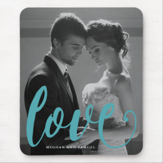 Blue Love Typography Photo and Name Mousepad