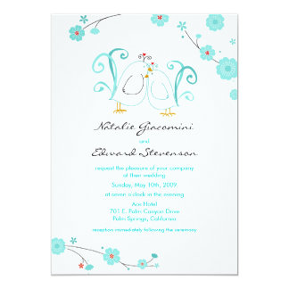 Blue Lovebirds & Blossoms Invitations