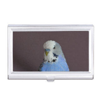 Blue Lovely Budgie Business Card Holder