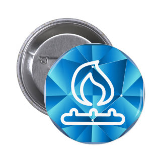 Blue Low Poly Natural Gas Flame Fire 2 Inch Round Button