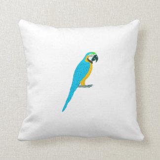 Blue Macaw Parrot Throw Pillow