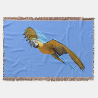 Blue macaw throw blanket