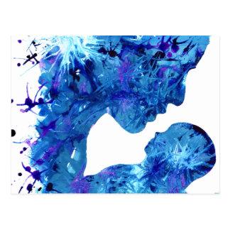 Blue Madonna & Child Christian Art Nativity Design Postcard