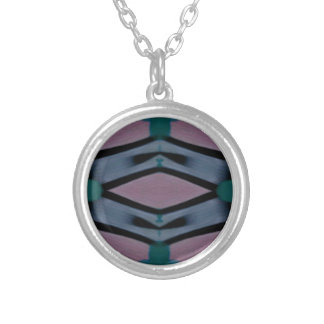 Blue Magenta Artistic Modern Pattern Silver Plated Necklace