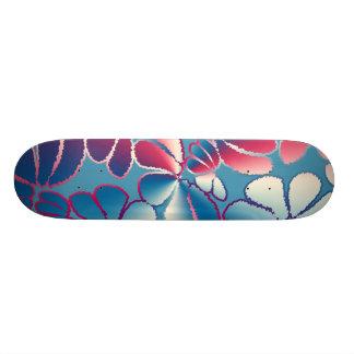Blue Magenta Whimsical Ikat Floral Doodle Pattern Skateboard Deck