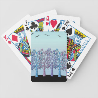 Blue magical landscape bicycle playing cards