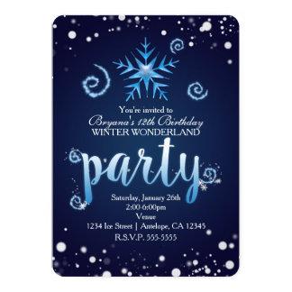 Blue Magical Swirls Winter Wonderland Invitations