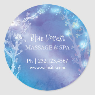 Blue Magical Trees Business Label Sticker