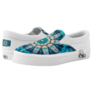 Blue Mandala Custom Zipz Slip On Shoes