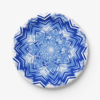 Blue Mandala Design on Paper Plates 7 Inch Paper Plate