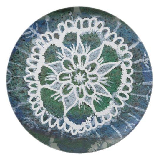 Blue Mandala Edelweiss  Melamine Plate
