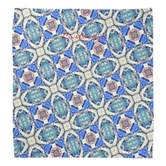 Blue mandala hearts pattern Thunder_Cove Bandana
