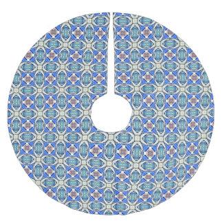 Blue mandala hearts pattern Thunder_Cove Brushed Polyester Tree Skirt