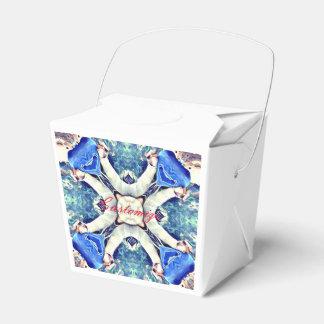 Blue mandala hearts pattern Thunder_Cove Favor Box