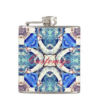 Blue mandala hearts pattern Thunder_Cove Hip Flask