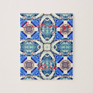 Blue mandala hearts pattern Thunder_Cove Jigsaw Puzzle