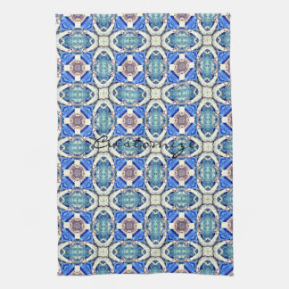 Blue mandala hearts pattern Thunder_Cove Kitchen Towel