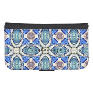 Blue mandala hearts pattern Thunder_Cove Samsung S4 Wallet Case