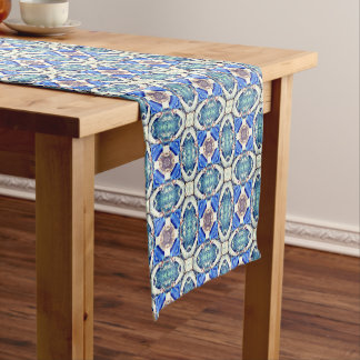Blue mandala hearts pattern Thunder_Cove Short Table Runner