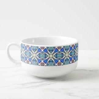 Blue mandala hearts pattern Thunder_Cove Soup Mug