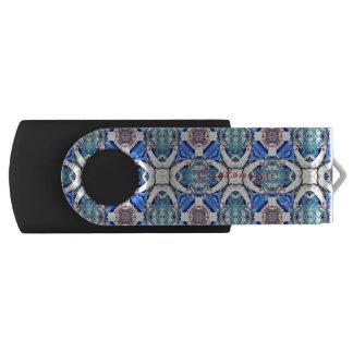 Blue mandala hearts pattern Thunder_Cove USB Flash Drive