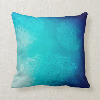 Blue Mandala Mystical Throw Pillow