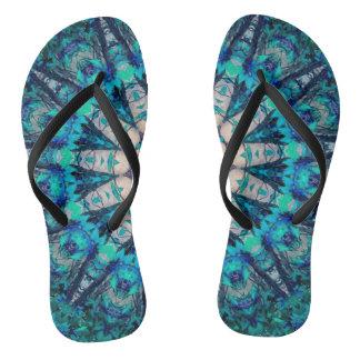 Blue Mandala Slim Straps Flip Flops