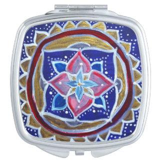 Blue Mandala Square Compact Mirror