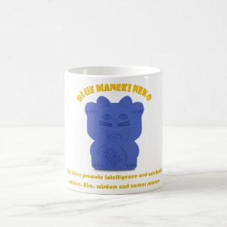 Blue Maneki Neko Both Paws Mug