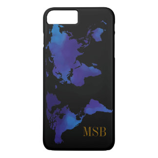 blue map of world with initials iPhone 8 plus/7 plus case